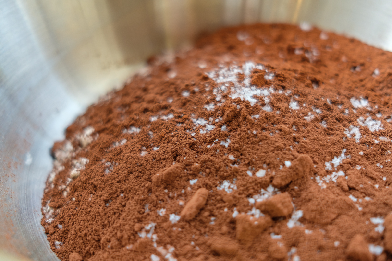 flour, cocoa powder, baking soda, and MARPHYL White Sea Salt for vegan cupcake batter