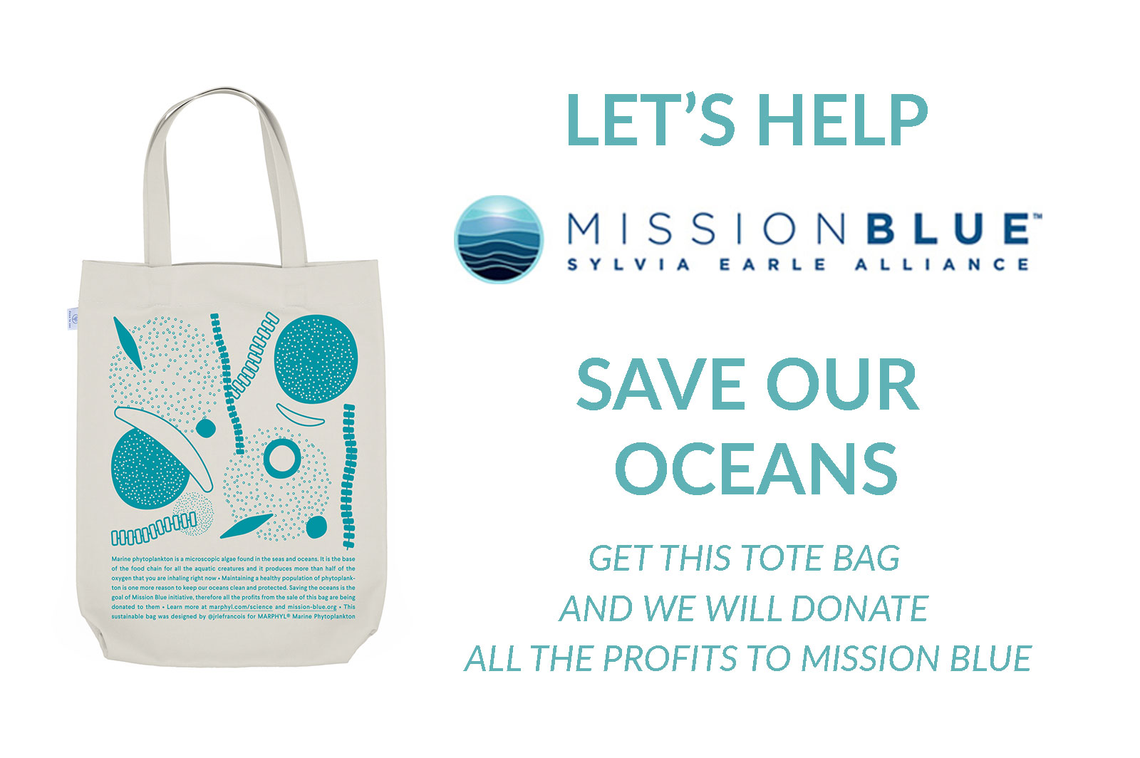 help save the oceans phytoplankton tote bag